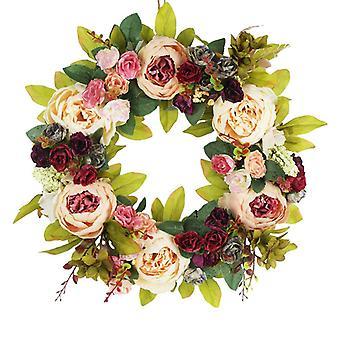 Sztuczna girlanda, ręcznie robiona girlanda z kwiatami do wystroju ścian w domu