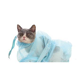 Pet Cat's Nail-cutting Bath And Anti-scratch Bath Bag-pet Cat Supplies (blue)