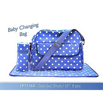 Blue Dotty wikkelplaats Zak met Waskussen en Fles Bag Tafelzeil