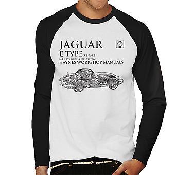 Haynes Workshop Manual 0140 Jaguar E Type 6 Cyl Black Men's Baseball Long Sleeved T-Shirt