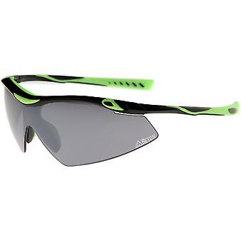 Thor - Half-Frame TR-90 Mirrored Shield Lens Matte Active Sport Wrap Sunglasses 80mm
