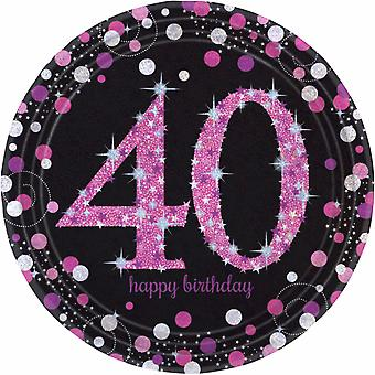 Amscan Sparkling Celebration 40th Birthday Party Plates (Pack of 8)