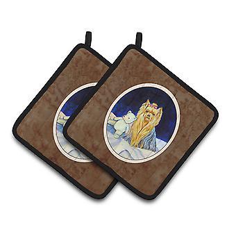 Carolines tesoros 7221PTHD Yorkie par de agarraderas