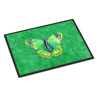 Butterfly Green on Green Indoor or Outdoor Mat 18x27 Doormat