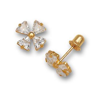 14k Yellow Gold April Clear CZ 4 Petal Flower Screw back Earrings Measures 7x7mm Jewelry Gifts for Women