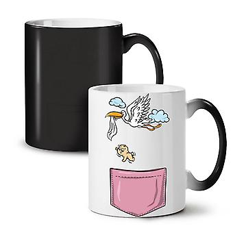 Stork Baby Newborn Funny NEW Black Colour Changing Tea Coffee Ceramic Mug 11 oz | Wellcoda