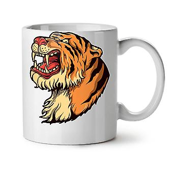 Tiger Head NEW White Tea Coffee Ceramic Mug 11 oz | Wellcoda
