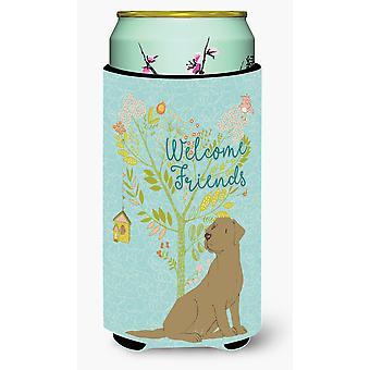 Welcome Friends Chocolate Labrador Retriever Tall Boy Beverage Insulator Hugger