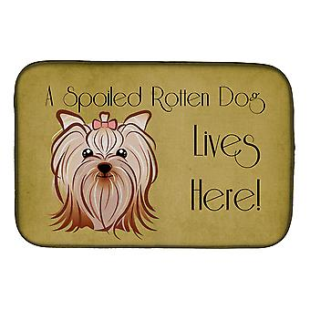 Yorkie Yorkishire Terrier Spoiled Dog Lives Here Dish Drying Mat