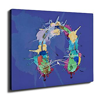 Headphones Colors Wall Art Canvas 40cm x 30cm | Wellcoda