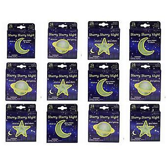 12 Packs of Glow In The Dark Moon & Stars - 3 Asst Designs