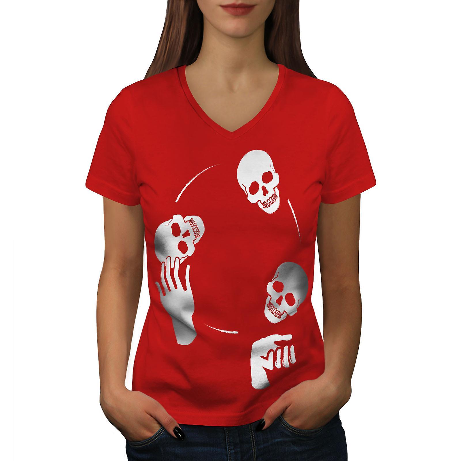 Jonglage Metal Rock femmes RedV-Neck T-shirt | Wellcoda