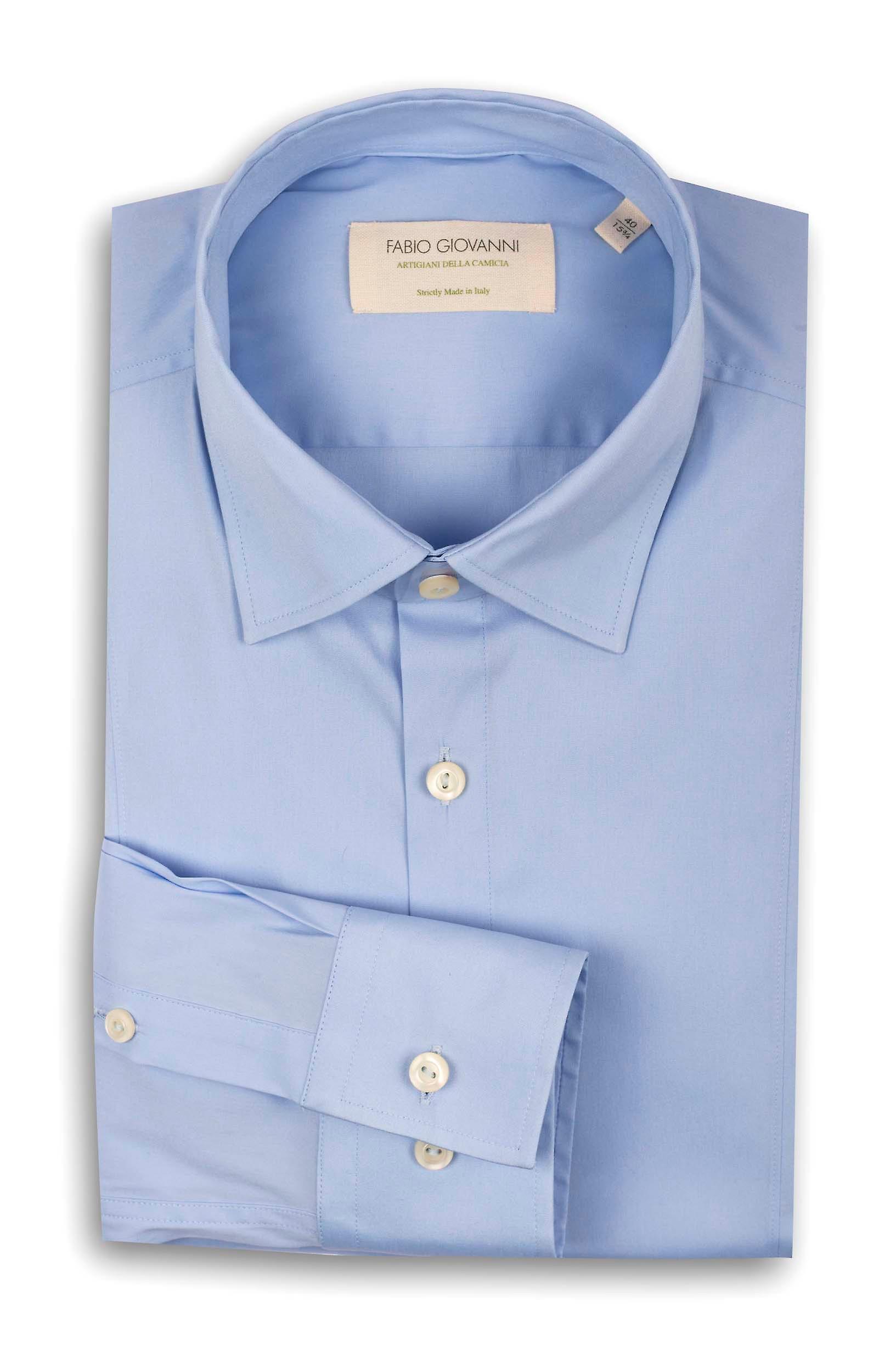 Fabio Giovanni San Vito Shirt - Mens High Quality Italian Poplin Cotton Light Blue Plain Shirt