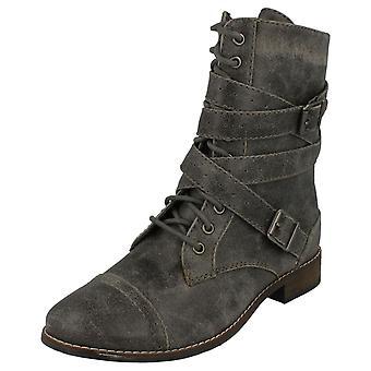 Dames Coco militaire stijl Lace Up platte laarzen L8641