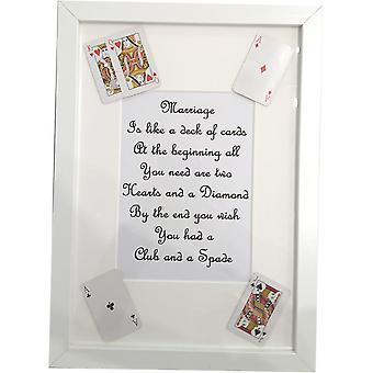 Handmade Mariage is like a deck of cards frame White by Wee Bee Gifts