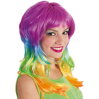 Peruca fantezie curcubeu colorat unicorn