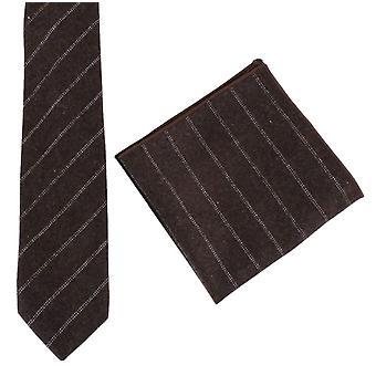 Knightsbridge Neckwear Diagonal Stripe Tie and Pocket Square Set - Brown/White