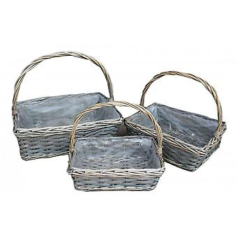 Set of 3 Rectangular Wicker Flower Basket With Plastic Lining