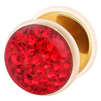 Falso traidor Ear Plug ouro chapeado, brinco, joias de corpo, com Multi cristal vermelho
