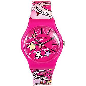 Pink Cookie damer-piger analoge Pink Motiff Design PU rem Watch PCL-0019