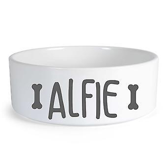 Peronalised Dog Food Bone Large Ceramic Dog Bowl