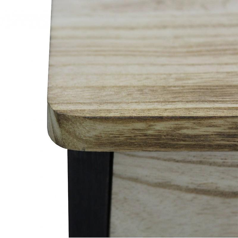 Meubles Rebecca Comodino 3 tiroirs en bois noir Design 57x37x32