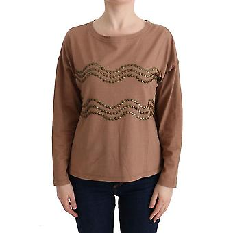 Brown cotton studded sweater