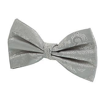 Dobell Boys Silver Paisley Bow Tie Pre-Tied