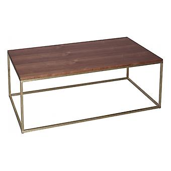 Gillmore Walnut And Gold Metal Contemporary Rectangular Coffee Table