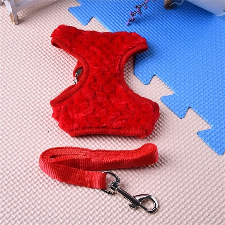 Red Faux Fur Vest Harness & Lead Set