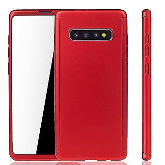 Samsung Galaxy S10 Plus Handy Hülle Schutz-Case Full-Cover Panzer Schutz Folie Rot