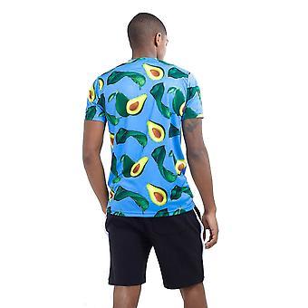 Brave Soul Mens Avocado Print Crew Neck T Shirt