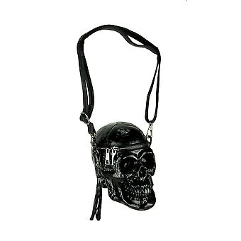 Glossy Black Skull Shaped Gothic Crossbody Bag Small