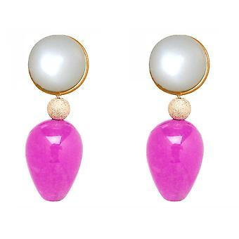 Orecchini Gemshine pietre lunari bianche, gocce di pietre di giada rosa rosa - oro placcato