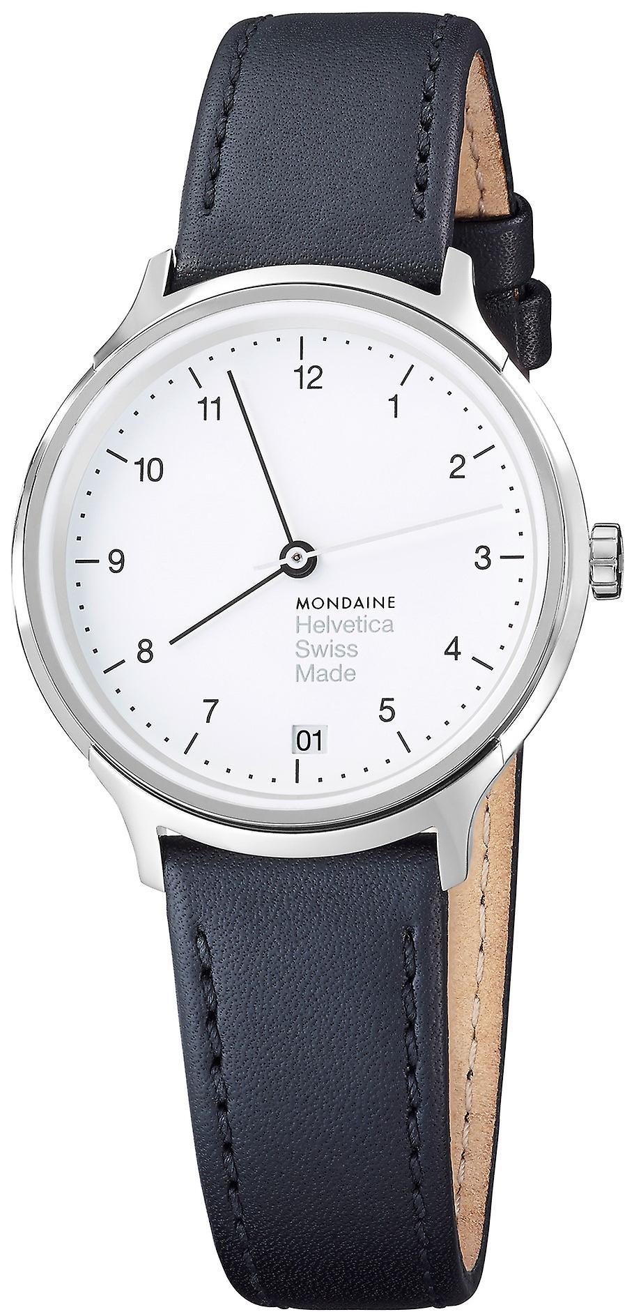 Mondaine Helvetica Black Leather Strap Ladies Watch MH1.R1210.LB 33mm