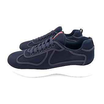 Prada Americas Cup Rubber-Trimmed Mesh Sneakers Bleu/Blanc