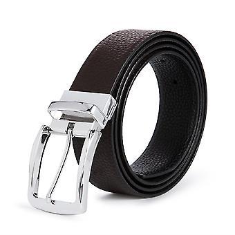 Allthemen Men's Business Leather Belt Bright Silver Odwracalny Pasek klamry pin