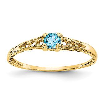 14k Yellow Gold Polished 3mm Blue Zircon Baby Ring Size 3.00