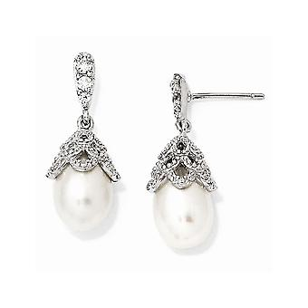 925 Sterling Silver Rhodium pläterad CZ Cubic Zirconia Simulerad Diamond Sötvatten Odlade Pearl Dangle Post Örhängen Je