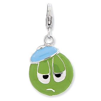 925 Sterling Silver Rhodium plated Fancy Lobster Closure Enameled 3 d Sad Face With Lobster Clasp Charm Pendant Necklace