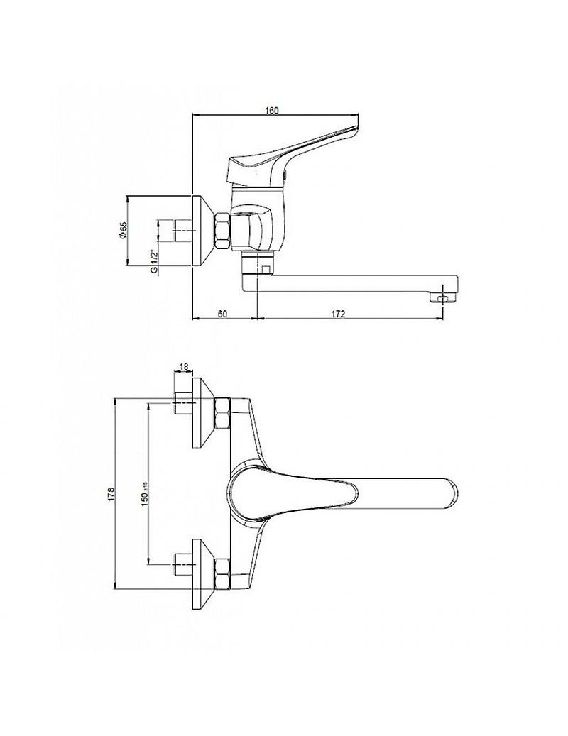 Tap Mixer For Bath Or Kitchen With Wall Attack