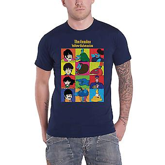 Les Beatles T Shirt Yellow Submarine Characters Logo nouveau officiel Mens Navy Blue