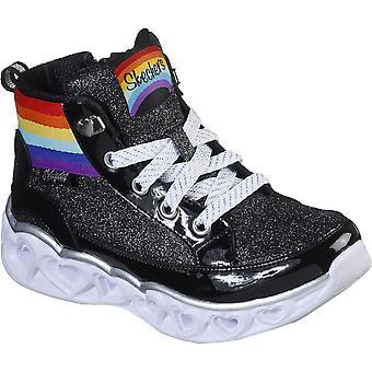 Skechers Girls Heart Lights Rainbow Diva Hightops Shoes
