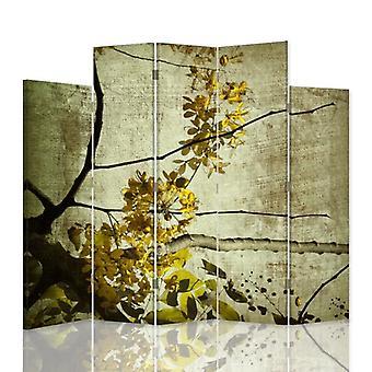 Dekorativa rumsavdelare, 5 paneler, dubbelsidig, canvas, blommande gren 5