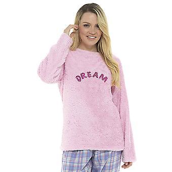 Ladies Embroidered Sequin Slogan Design Fleece Loungwear Top