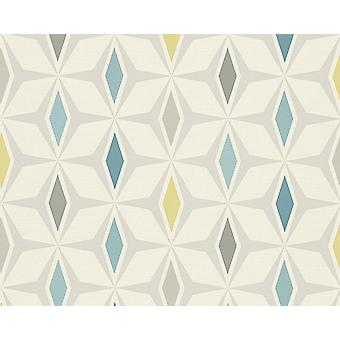 Rétro Diamond Geometric Wallpaper Blue Grey Grey Vinyl Paste Wall A.S Création