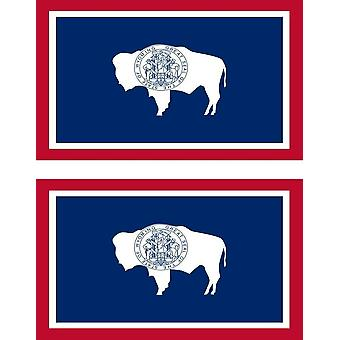 2 X Sticker Sticker Car Pc Vinyl Macbook Flag USA Wyoming