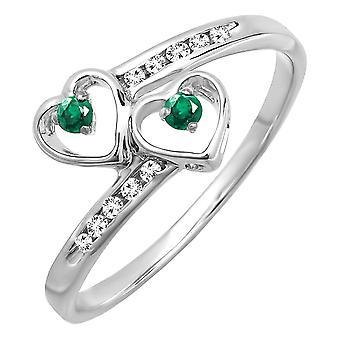 Dazzlingrock kollektion sterling sølv runde grønne smaragd & diamant damer brude dobbelt hjerte løfte ring