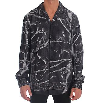Gray Monkey Print Pajama Shirt