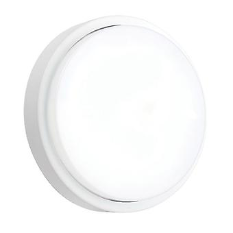 Saxby verlichting rond magnetron geïntegreerd LED buiten magnetron muur licht mat wit getextureerde, opaal IP54 78623